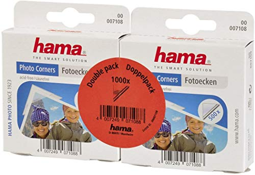 Hama Photo Corners 1000 pcs (Self-adhesive, Suitable for Albums, Convenient Dispenser, Acid-free, Solvent-free, Archive-safe) - Transparent