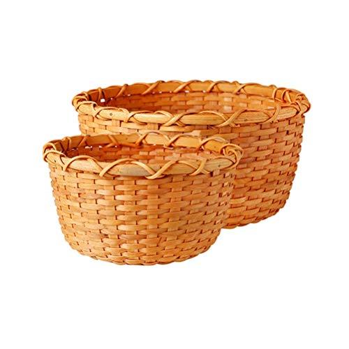 Ronda Rattan Cesta de Frutas Inicio Sala de Estar Mesa de Caramelo de Frutas secas Snack-Placa de Cocina Grande Cesta Vegetal Cesta de Almacenamiento, Color Natural (tamaño : Two-Piece)