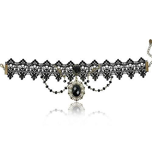 Le donne della signora Girls Lace collana girocollo gotico di gioielli stile retrò Girocollo con Pendente ellittica nera.