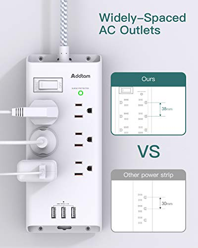 Power Strip Surge Protector, Addtam 6 Outlets and 3 USB Ports 5Ft Long Extension Cord, Flat Plug Overload Surge Protection Outlet Strip, Wall Mount for Home, Office and More, ETL Listed 3