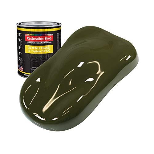 Restoration Shop - Olive Drab Acrylic Enamel Auto Paint - Quart Paint Color Only - Professional Single Stage High Gloss Automotive, Car, Truck, Equipment Coating, 2.8 VOC