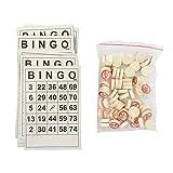 Juego de tarjetas de juego de papel de bingo, fácil de leer, juego de bingo de madera con 40 tarjetas de números de bingo y 75 piezas de juego, tarjetas de bingo desechables (papel)