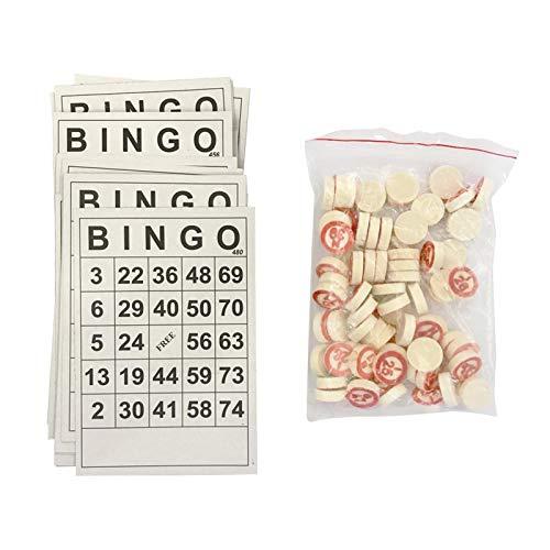 POHOVE Juego de mesa de bingo de madera, juego de mesa de bingo con 40 tarjetas de números y 75 tarjetas de madera de ajedrez, obturador de bingo para familiares, amigos, grandes fiestas de grupo