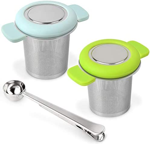 LaLa Dloce Tea Infuser Set of 2 Stainless Steel Tea Strainer Filter with Silicone Handle for product image