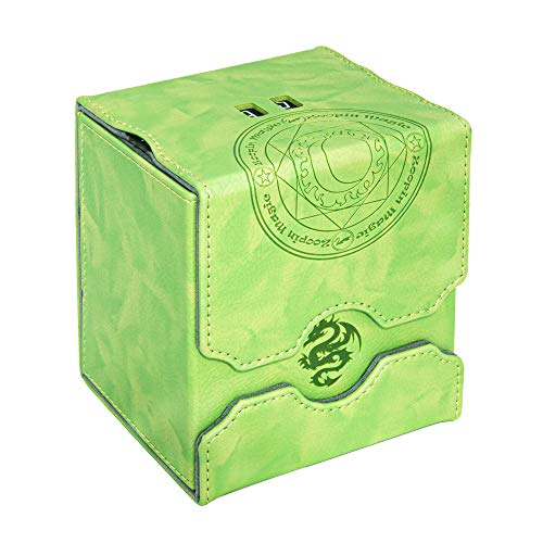 Zoopin Leather Deck Box with Built-in Spinning Life Counter, Green for MTG,Yugioh,Pokeman,TES Legacy,Munchkins CCG Decks and Also Small Tokens or Dice- Hold 100 Sleeved Cards or 150 Naked Cards …