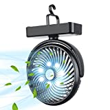 Camping Fan, 10000mAh Rechargeable Battery Operated Fan with Hanging Hook, Tent Fans for Camping, LED Lantern USB Fan for Tent Car rv Hurricane Emergency Outages Office Home, Max Light up to 580 Hours