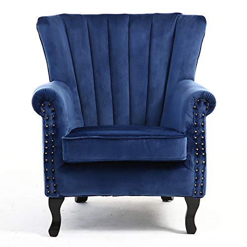 Warmiehomy Armchair Velvet Upholstered Accent Chair Armchair Wing Back Fireside Chair with Solid Wooden Legs for Living Room Bedroom (Dark Blue)
