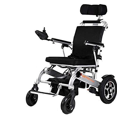 BXZ Der leichteste und kompakteste Power Chair Faltbarer Power Compact Mobilitätshilfsrad Chai Electric Rollstühle Tisch Langer Arm und Hubständer mit kraftgetriebenem, leichtem, faltbarem Silber,Sil