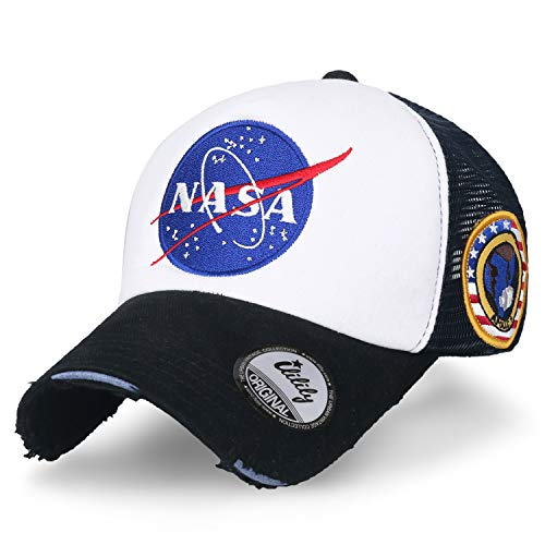 ililily NASA Meatball abgebildet im Logo Stickerei Baseball Cap Apollo 1 Flicken Trucker Cap Hut, Black & White