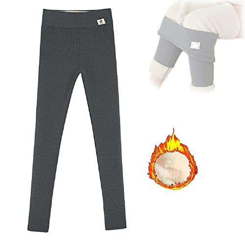 High Waist Fleece Lined Leggings for Women, Casual Elastic Tummy Control Leggings, Women's Plush Thermal Bottoms Yoga Pants (Grey,2XL)
