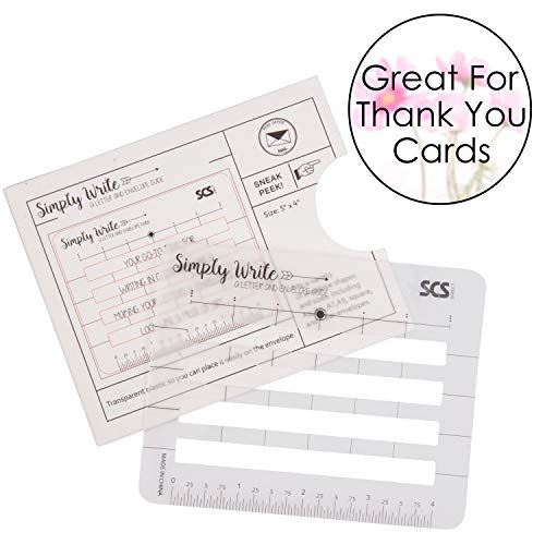 Lettering Envelope Addressing Stencil - Template Ruler Guide for Perfectly Straight Addressing- Fits All Sizes (1 Pack) - Great for Sending Cards
