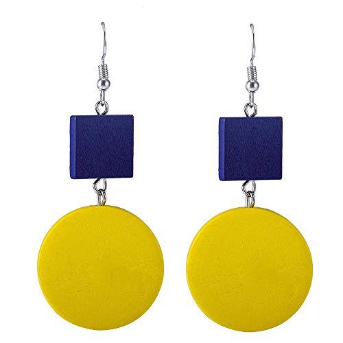 Ear nagel net rood eenvoudige Ins houten oorbellen oorbeugel vierkant rond geel blauw