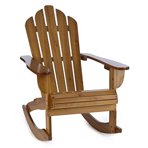 blumfeldt Rushmore Schaukelstuhl Garten Schwingstuhl - Adirondack-Stuhl, witterungsbeständig, Tannenholz, hohe Rückenlehne, breite Armlehne und Tiefe Sitzfläche, 71 x 95 x 105 cm, max. 150 kg, braun