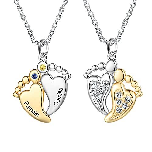 lorajewel Personalizado Collar Plata de Ley 925 Oro Colgante de con Corazón Bebé Pies con 2 Nombres Grabados Madre e Hija Collar Regalo para Mujer Día de la Madre