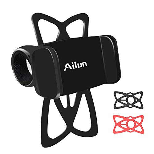 Ailun Mountain Bike Silicone Strap Phone Mount Holder Accessories Adjustable Bicycle Motorcycle Harley Davidson Handlebar Rack Compatible iPhone 12 Pro Mini Max iPhone 8 7 Plus