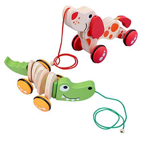 Great Deal! XLNB Pull Along Wooden Crocodile Toy,Lovely Toy Boys & Girls Encourage to Walk Infants a...