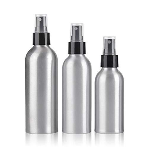 Doolland Lot de 3 mini vaporisateurs en aluminium Argenté 50 ml + 120 ml + 250 ml