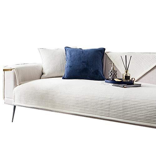 HXTSWGS Sofá de Felpa Toalla Funda de sofá Cojín Funda de sofá de Esquina para Sala de Estar Fundas Sofás con Chaise Longue-White_W90xL90cm