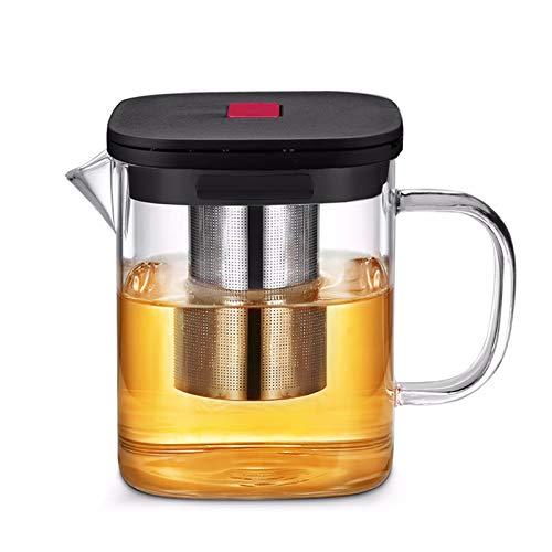 Tetera Borrar la taza de té Tetera de cristal a prueba de calor Conjunto de cristal cuadrados tetera con té Oolong infusor de té de la oficina taza de té (Color : 600Ml Teapot(1pcs))
