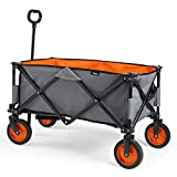 VonHaus Folding Camping Cart with Lining - 4 Wheeled Collapsible Festival Trolley, Portable Garden & DIY Waste...