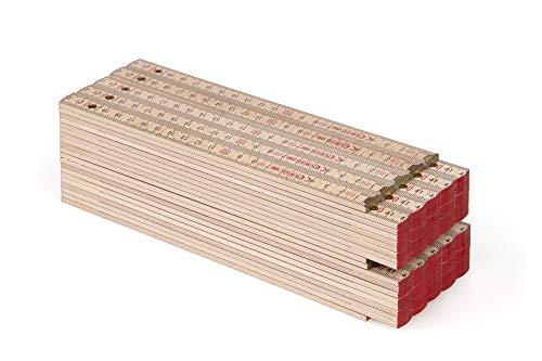 Metrie™ BLOCK 72 Zollstock/Zollstöcke - Gliedermaßstab | Maßstab - 2m - Natur Buche - Duplex Teilung, Hergestellt in der EU - 10 stück