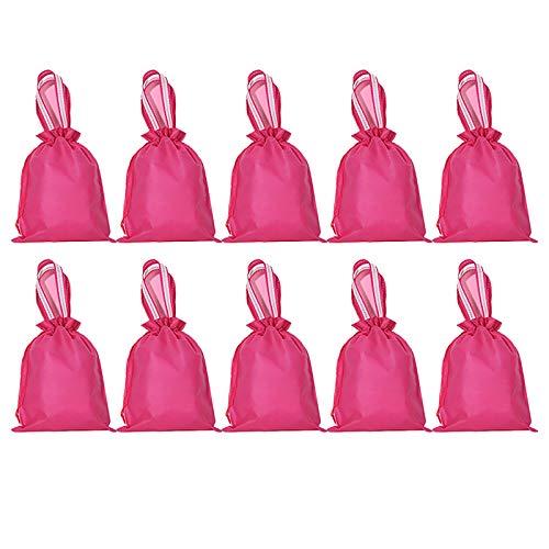 HUI JIN Bolsa de zapatos no tejida con cordón para la prevención del polvo, uso diario y de viaje, color magenta, 10 unidades