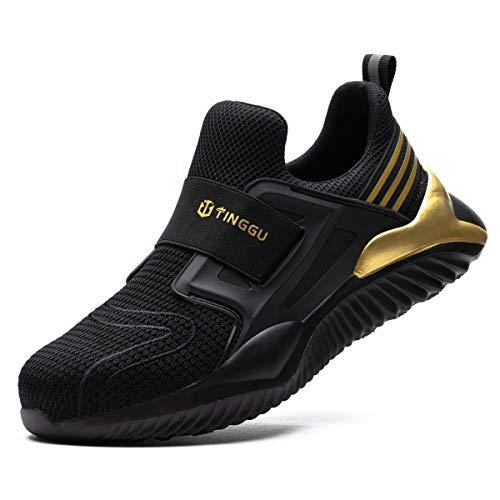 Zapatos de Seguridad Hombre Mujer Ligero Calzado Trabajo Zapatillas con Punta Acero Industriales Transpirable Seguridad Cómodas Antideslizante Anti Aplastamiento BlackGolden43