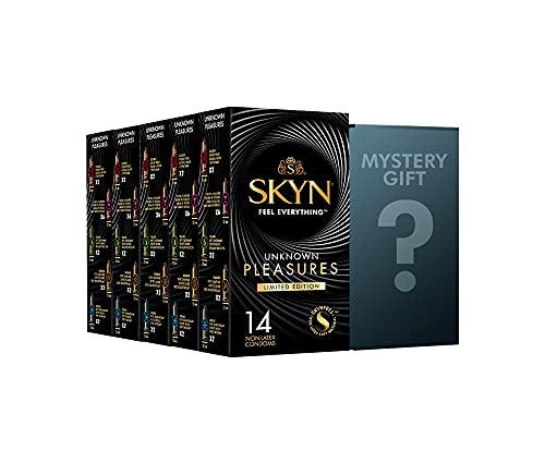 SKYN Unbekannt Pleasures Deluxe Edition Kondome, latexfrei, 5 x 14 cm, 70 Stück + Gratis Mystery Geschenk