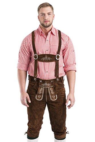 Herren Wildalpen Trachtenlederhose Lederhose Oktoberfest Kniebundhose (50, mittelbraun)