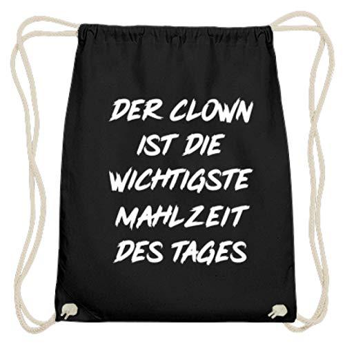 De clown is de belangrijkste maaltijd van de dag - eenvoudig en grappig design - katoenen gymzak