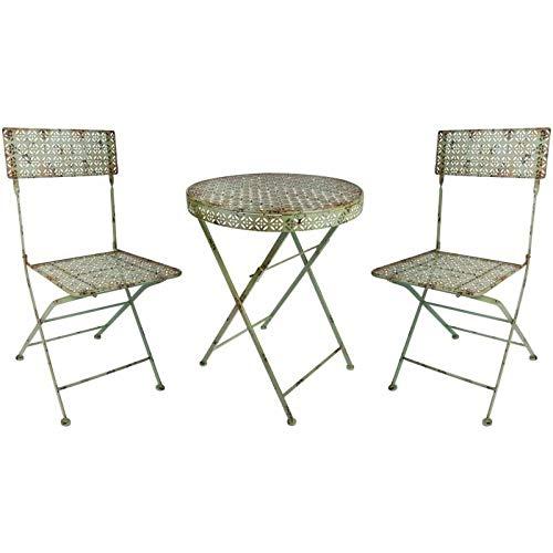 L'Héritier Du Temps Salon de Jardin Salon de Thé 2 Places Personnes Table Bistrot et 2 Chaises Pliantes en Fer Vert Antique