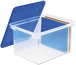 Storex 61508U01C Plastic File Tote Storage Box Letter/Legal Snap-On Lid Clear/Blue