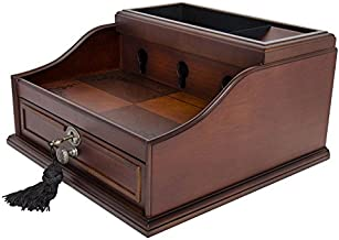 Arolly Wood Finish Mahogany Valet Charging Station Organizer Compatible for iPhone, Samsung and Other Smart Phones - Elora
