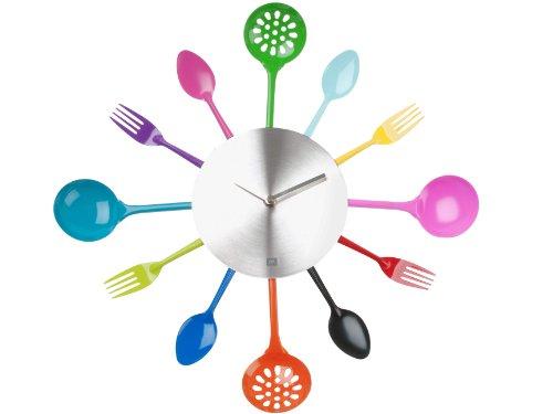Present time PT1639 Horloge Couverts et Ustensiles de cuisine Multicolore et gris Métal