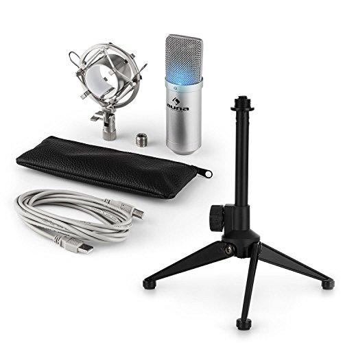 auna MIC-900S-LED - USB Mikrofon-Set V1, Kondensatormikrofon + Mikrofon-Tischständer, LED-Beleuchtung, USB, Plug & Play, perfekte Haltteeigenschaft, Höhenverstellbar, rutschfest, silber