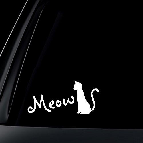 Silhouette Meow/Katzen-für Katzenfreunde-Aufkleber/Sticker, Weiß