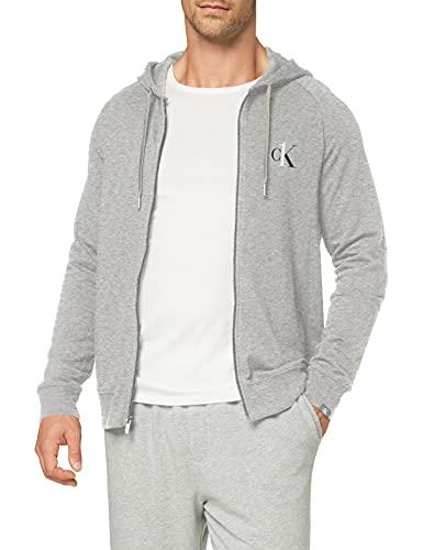 Calvin Klein Męska bluza z kapturem z zamkiem błyskawicznym, szary (Grey Heather 080), S