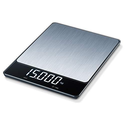 Beurer KS34 Balanza de cocina, medición de carga extra alta 15 kg /1 gr, pantalla led (9.5 x 2.5 cm) con dígitos de 2.5 cm, display invisible, apagado automático, acero inoxidable