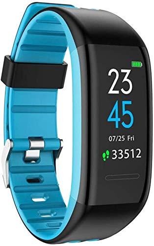 Pulsera de actividad física con monitor de frecuencia cardíaca, impermeable, inteligente, contador de pasos, contador de calorías, podómetro, reloj para niños, mujeres, hombres, azul