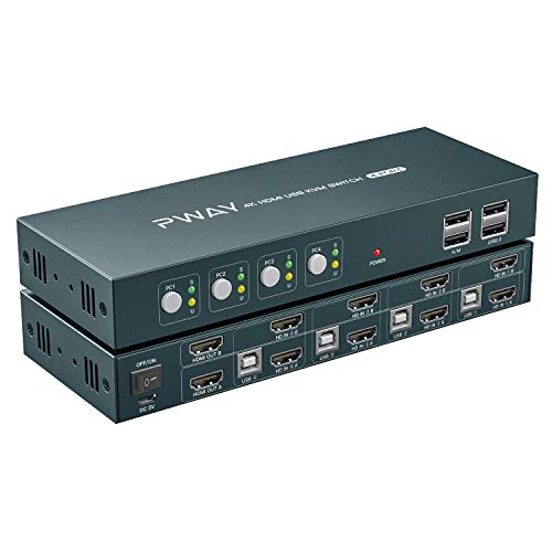 4 Port KVM Switch HDMI Dual Monitor Extended Display, 4K@30Hz 2 USB 2.0...
