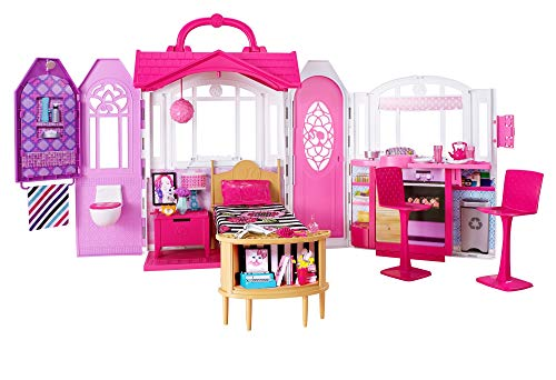 ?Barbie Glam Getaway Portable Dollhouse, 1 Story with Furniture, Accessories and Carrying Handle, for 3 to 7 Year Olds???