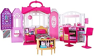 Mattel Barbie Glam Getaway Portable Dollhouse, 1 Story with Furniture, Accessories and Carrying Handle, for 3 to 7 Year Olds, Pink, 19.00 x 5.50 x 12.75 Inches