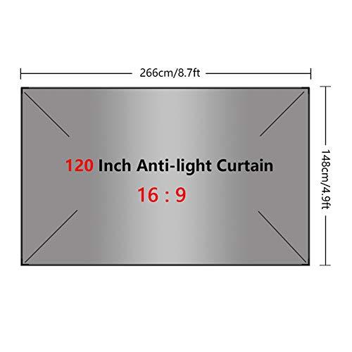 BAIHUAXIN Tela de projeção 3D, cortinas anti-luz, tela HD 16:9 dobrável antivinco portátil para home theater, tela de exibição pública interna e externa