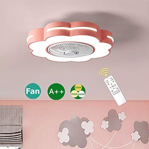 Ventilador de techo Lámpara de techo LED de tres colores con control remoto silencioso Ventilador invisible Lámpara de techo Flor geométrica ventilador Lámpara de techo para habitación de niños,Rosado