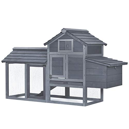 PawHut 59' Chicken Coop Wooden Hen House Rabbit Hutch Poultry Cage Pen Backyard with Nesting Box, Natural Wood, Grey