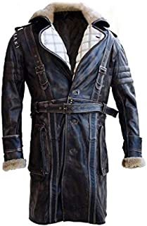 The Signatures Elder Maxson Fall Out Distressed Leather Coat with Faux Fur