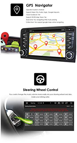Android 10 Quad Core Car Radio Stereo for Audi A3 S3 RS3 2003-2012 with 7 inch Capacitive Touch Screen Double Din GPS Navigation Support USB Connection Steering Wheel Control