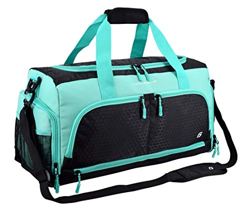 Ultimate Gym Bag 2.0: The Durable Crowdsource Designed Duffel Bag with 10 Optimal Compartments Including Water Resistant Pouch (Teal, Medium (20'))