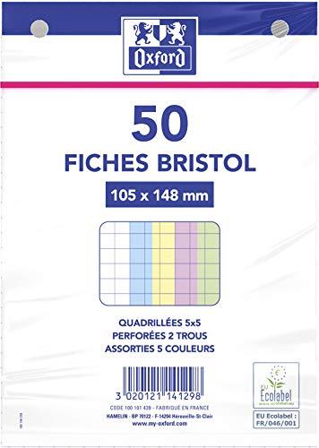Oxford 100101439fichas A6bajo película perforadas cuadros pequeños 5X 550fichas, varios colores