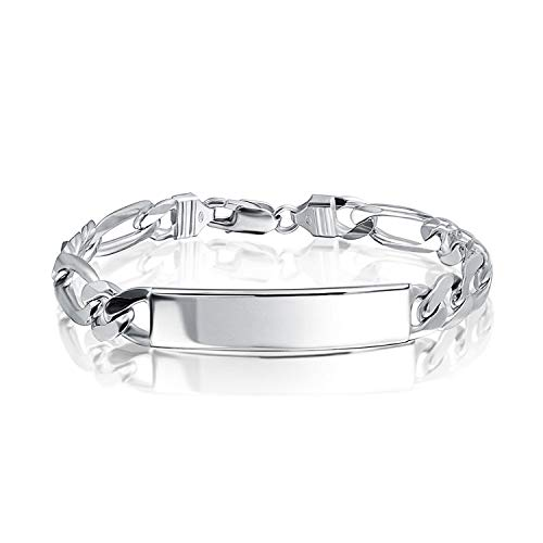 250 Gauge 925 Sterling Silver Figaro Engravable Name Plate ID Identification Bracelet For Men Made In Italy 9 Inch
